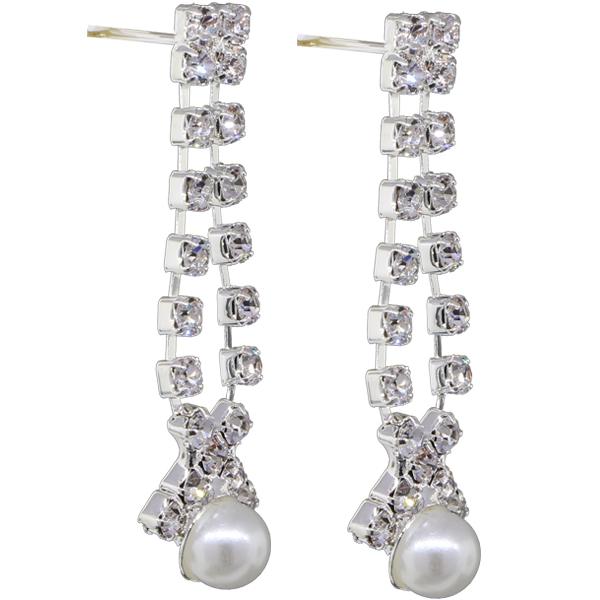 """1 1/2"""" Pearl Accent Rhinestone Dangle Earring"""
