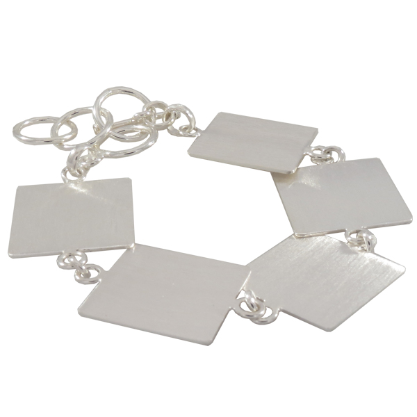 Flat Linked Bracelet, Square in Silver Overlay