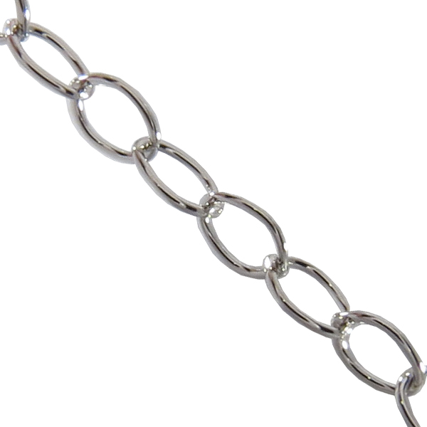 Cable Chain, 6.38 mm wide, Imitation Rhodium Plated