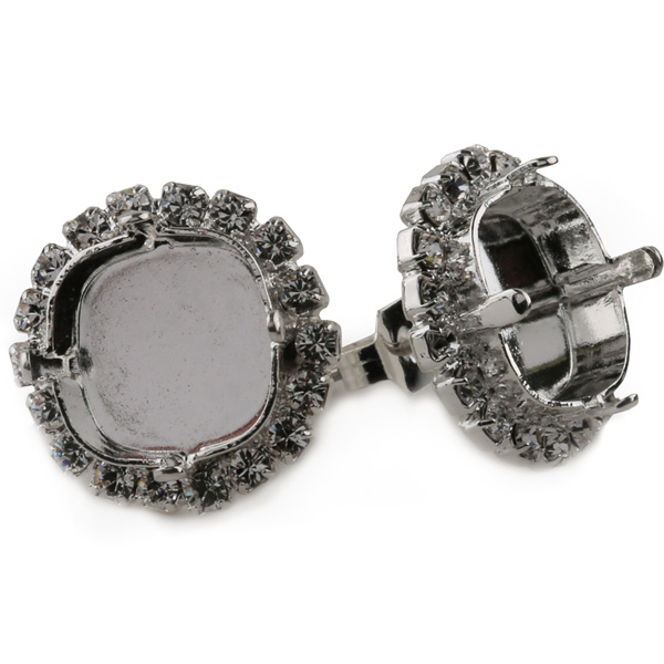 6b6116672 Empty Square Stud Earrings with Swarovski Rhinestones for 12mm 4470 |  Dreamtime Creations