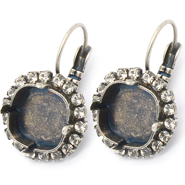 The Square Earrings 12mm Antique Silver with Swarovski Crystals izE4no