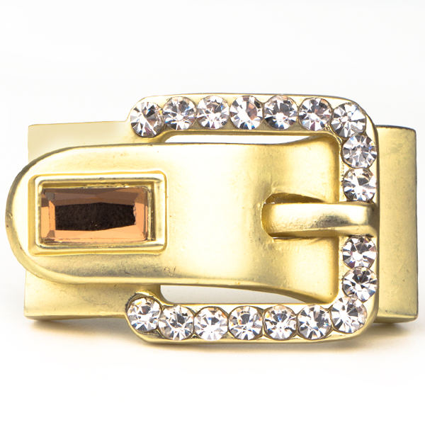 Buckle-Style Magnetic Clasp, Gold With Crystals, 1.5 inches