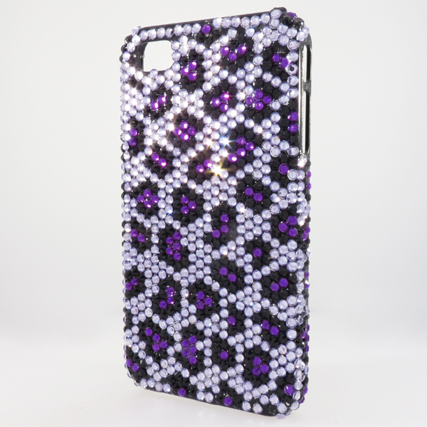 Bling iPhone Case for iPhone 4 Purple Animal Print