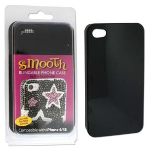 Phone Case for iPhone 4/4S Black for use with Flat Backs