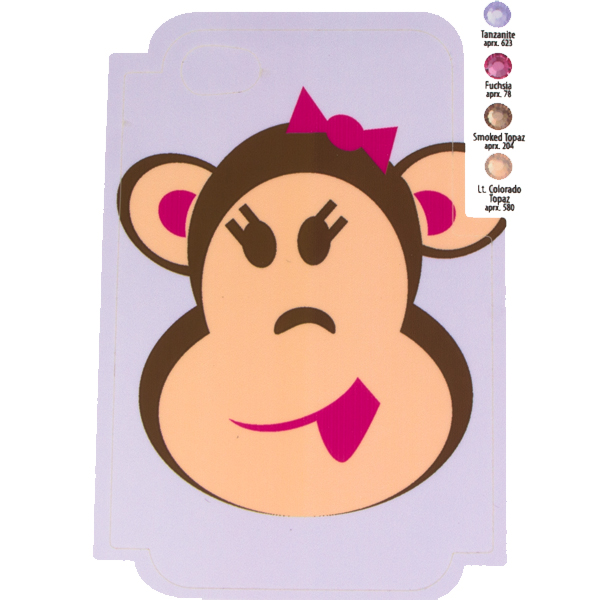 Girl Monkey Template for Phone Case for iPhone 4/4S for use with Flat Backs