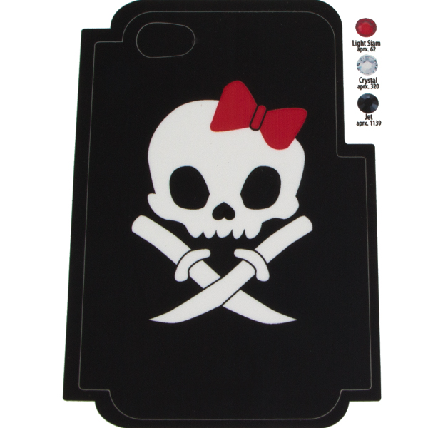Skull Bow Template for Phone Case for iPhone 4/4S for use with Flat Backs