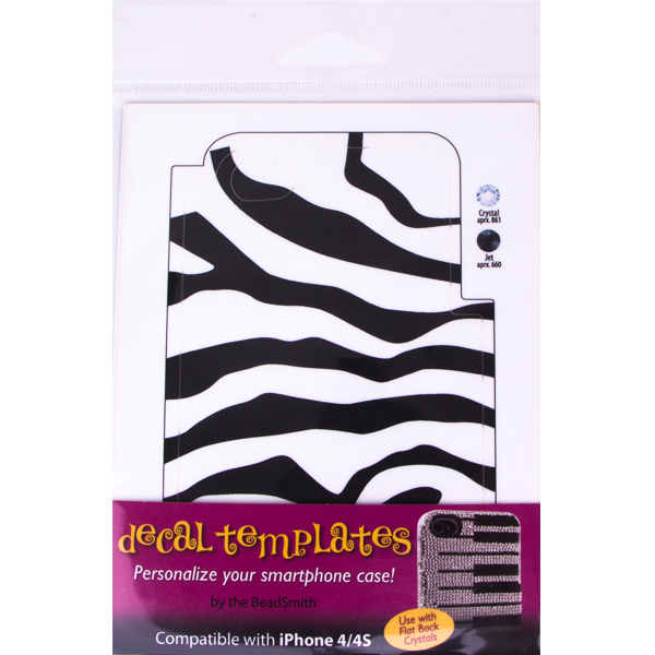 Zebra Template for Phone Case for iPhone 4/4S for use with Flat Backs