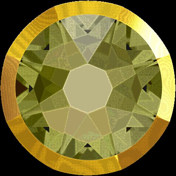Swarovski 2088/I Rimmed XIRIUS Rose Flat Back Khaki with Crystal Dorado Rim SS20