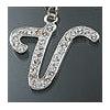 "Rhinestone Initial Key Chain ""V"""