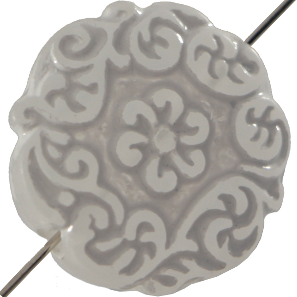 Mediterranean Bead Coin 22 mm White Crystal