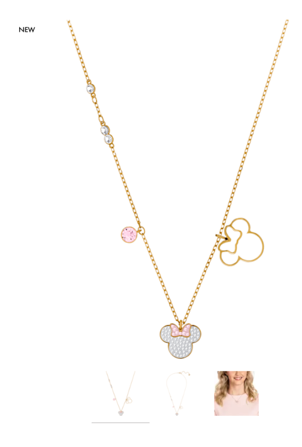 Swarovski Collections Mickey and Minnie Pendant, White, Gold-Tone Plated