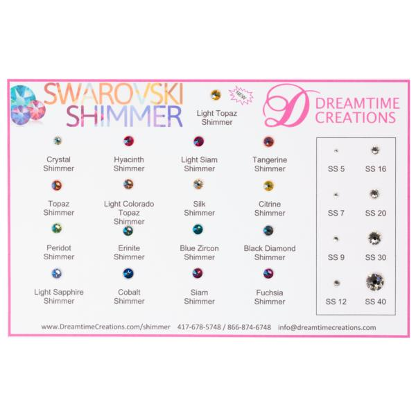 e679a7e94 Swarovski 2088 Shimmer Rhinestones Flatback, Shimmer Color Chart    Dreamtime Creations