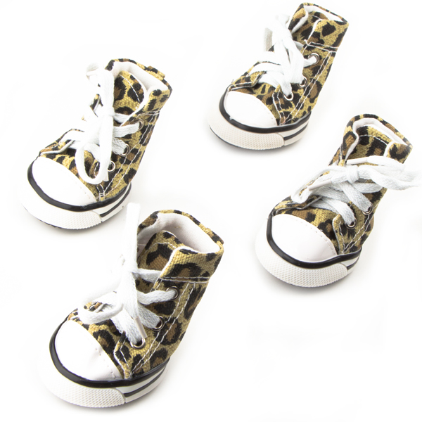 Dog Shoes, Size 5, Leopard Print with White Shoestrings