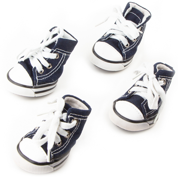 Dog Shoes, Size 3, Blue & White with White Shoestrings