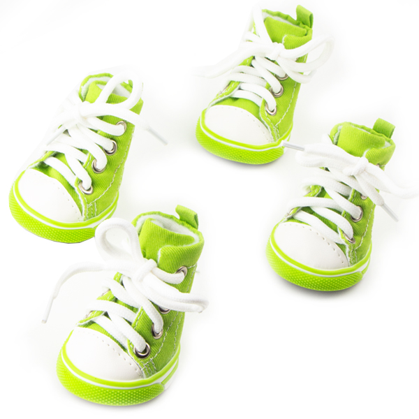 Dog Shoes, Size 3, Green & White with White Shoestrings