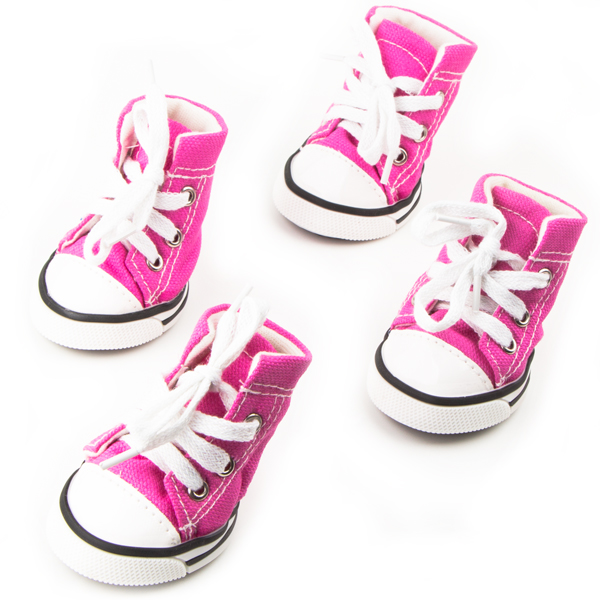 Dog Shoes, Size 4, Pink & White & Black with White Shoestrings