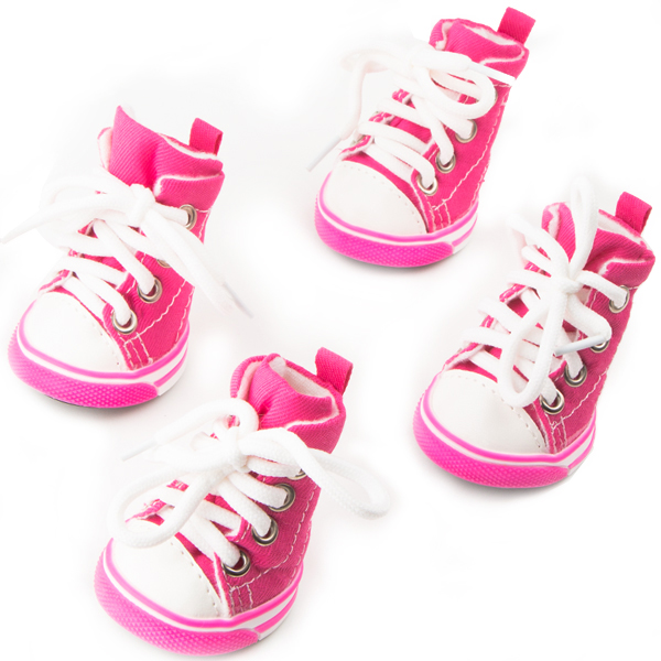 Dog Shoes, Size 3, Pink & White with White Shoestrings