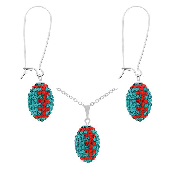 Game Time Bling Mini Football Necklace & Earring Gift Set - Blue Zircon/Hyacinth