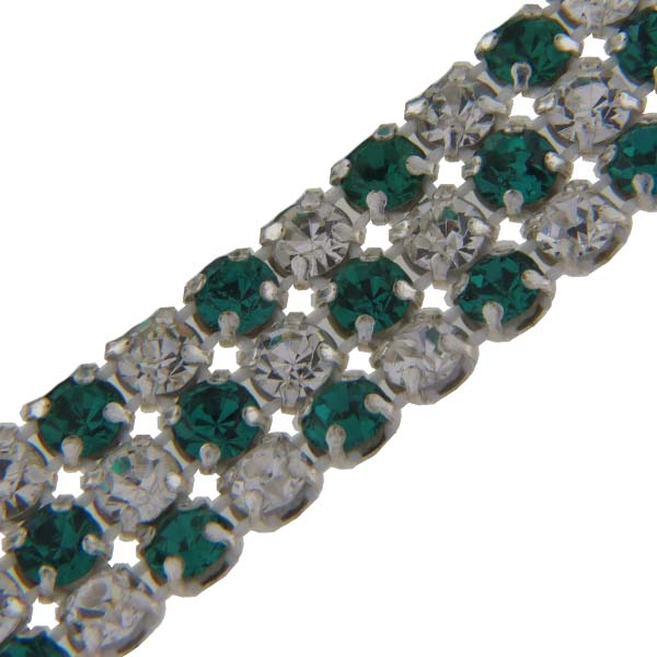 Crystal/Emerald Alternating 3 rows