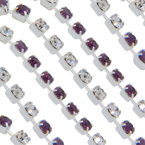 Swarovski 18pp Rhinestone Chain Amethyst/Crystal on Silver