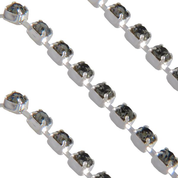 Cupchain with Swarovski Chatons, Black Diamond in Imitation Rhodium Plated Chain