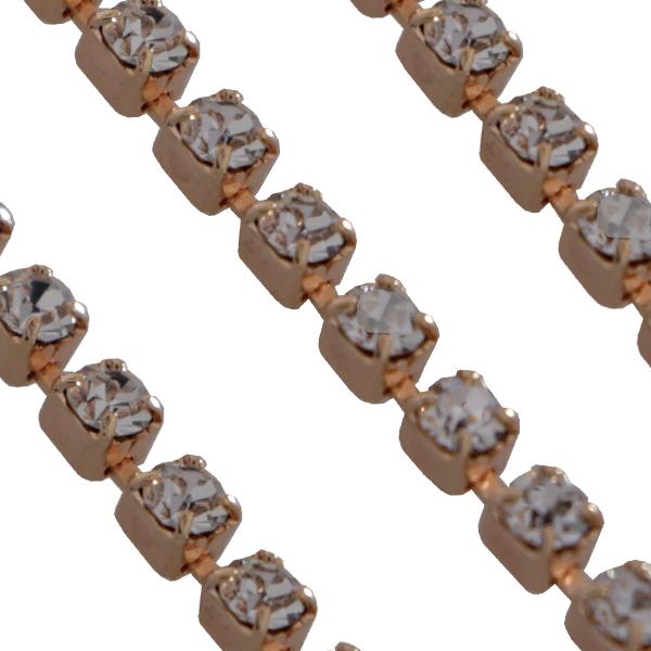Swarovski 27104 Rhinestone Chain pp14 Crystal/Rose Gold