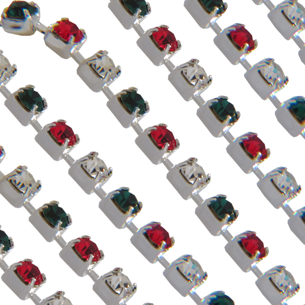 Swarovski 18pp Rhinestone Chain Light Siam/Emerald/Crystal on Silver