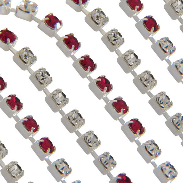 Swarovski 18pp Rhinestone Chain Siam/Crystal Silver