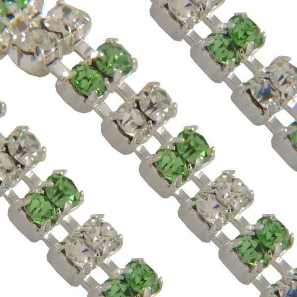 Swarovski Double Row Rhinestone Chain pp24 Peridot/Crystal/Sterling Silver