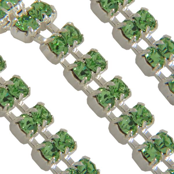 Swarovski Double Row Rhinestone Chain pp24 Peridot/Sterling Silver