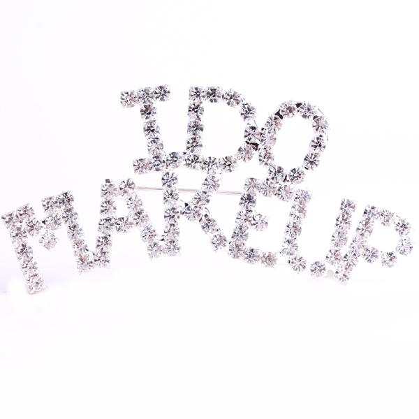 I Do Makeup (Crystal/Silver) Rhinestone Pin