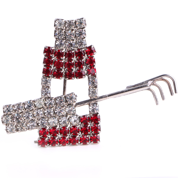 Makeup (Crystal/Light Siam/Silver) Rhinestone Pin