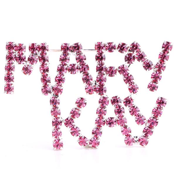 MARY KAY (Rose/Silver) Rhinestone Pin