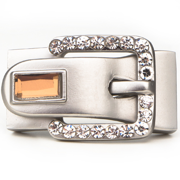Buckle-Style Magnetic Clasp, Silver With Crystals, 1.5 inches