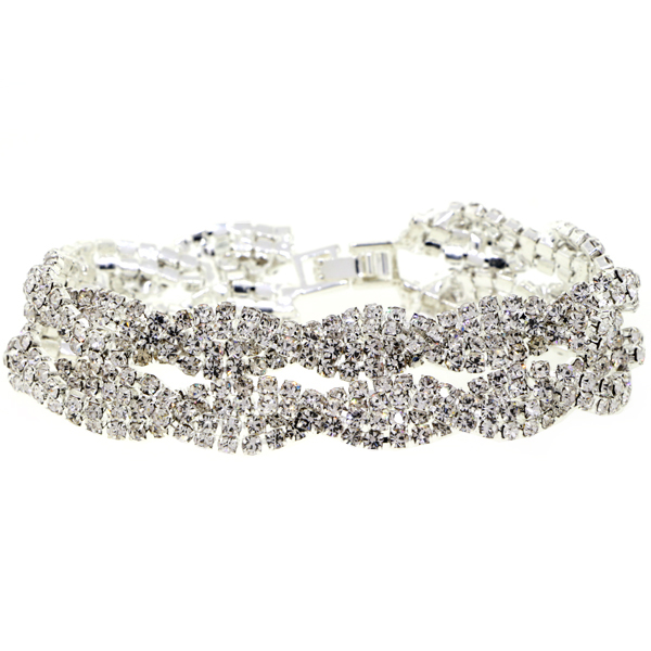 Double Braid Tennis Bracelet, Crystal/Silver
