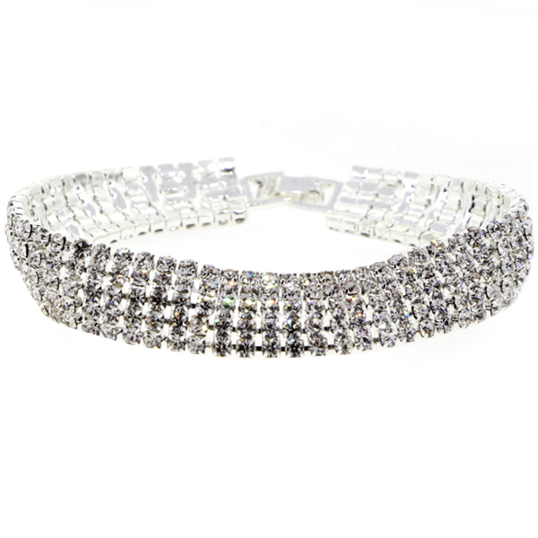 5 Row Tennis Bracelet, Crystal/Silver