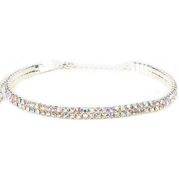 2 Row Stretch Rhinestone Choker Necklace Crystal AB /Silver