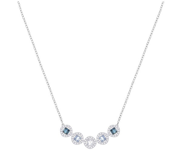 5855131f3 Swarovski Collection Rhodium Plated Angelic Blue Crystal Square Necklace    Dreamtime Creations