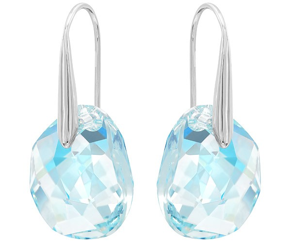 4333195b0 Swarovski Collection Rhodium Plated Drop Light Azore Blue Crystal Earrings  | Dreamtime Creations