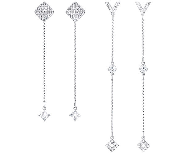 Swarovski Collection Rhodium Plated 2 Pairs of Mix and Match Earrings