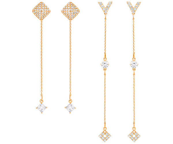 Swarovski Collection Rose Gold Plated 2 Pairs of Mix and Match Earrings