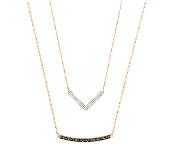 Swarovski Collection Set of 2 Necklaces with White and Black Pavé
