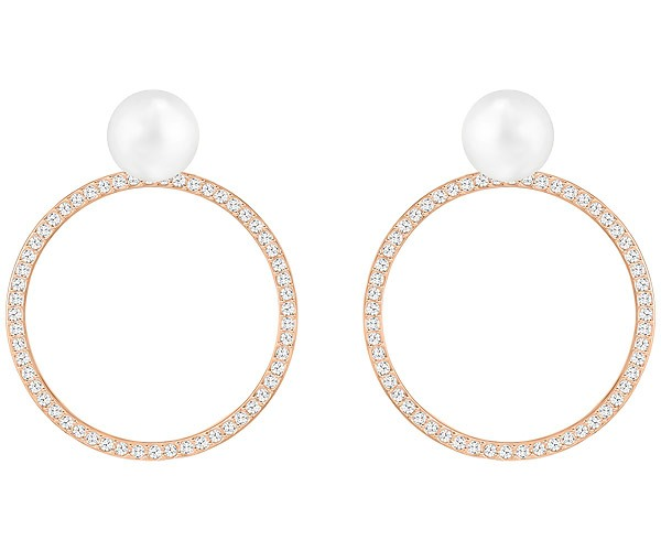 Swarovski Collection Rose Gold Plated Crystal Pearl Stud Earrings