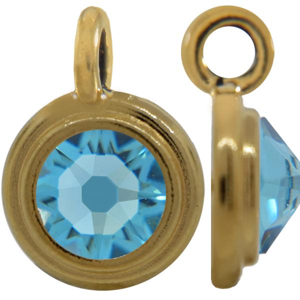TierraCast® Charm, 12mm Rivoli, Gold plated, Aqua