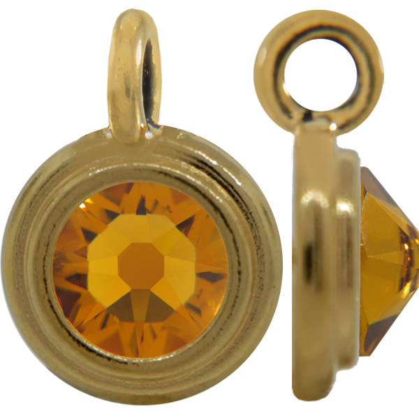 TierraCast® Charm, 12mm Rivoli, Gold plated, Topaz