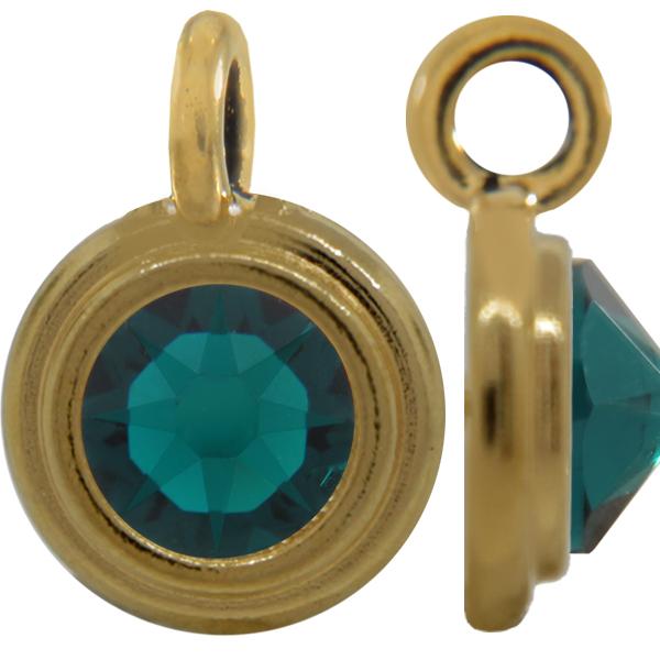 TierraCast® Charm, SS34 STEPPED BEZEL, Gold plated, Emerald