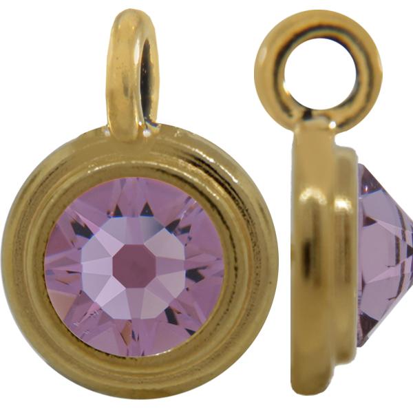 TierraCast® Charm, SS34 STEPPED BEZEL, Gold plated, Light Amethyst
