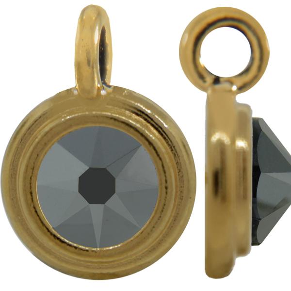 TierraCast® Charm, 12mm Rivoli, Gold plated, Jet Hematite