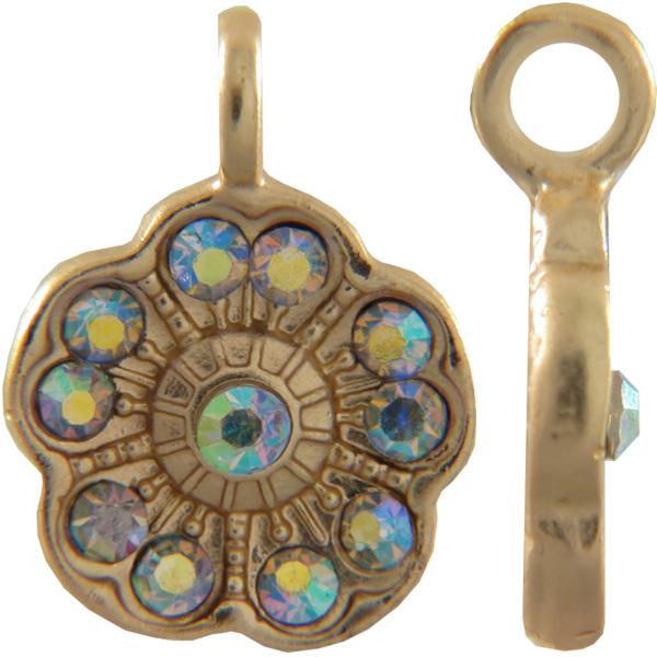 Beadelle® Violet with Loop Fleurette 12 mm Matte Gold/Crystal AB