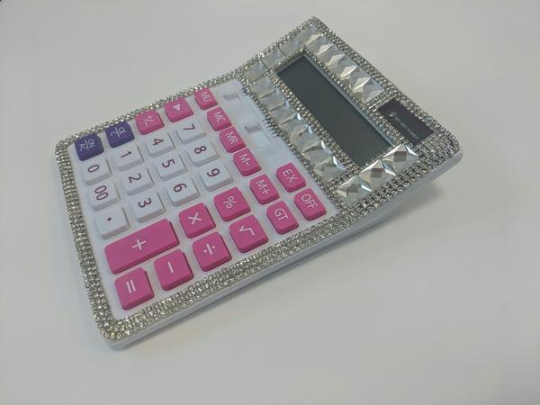 Blinged Calculator Pink/Purple Buttons